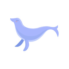 Lovely blue fur seal, cute sea creature character vector Illustration on a white background