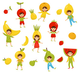 Flat vector set of children in different fruit hats. Cartoon kids characters in colorful costumes. Kindergarten theme
