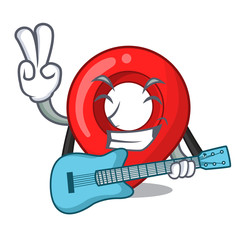 With guitar map pointer navigation pin mascot cartoon
