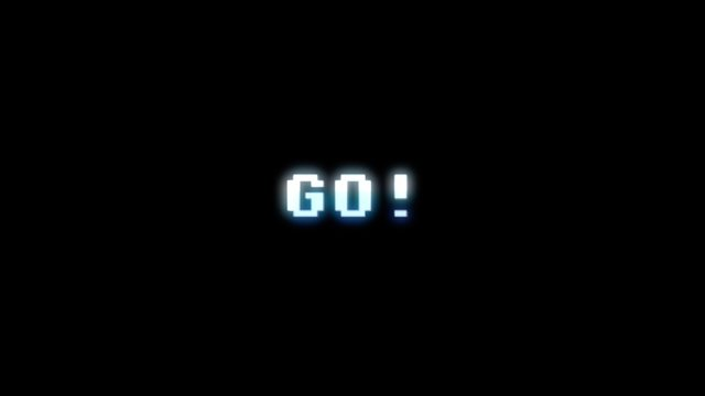 Text appearing on a retro vintage computer screen: go! With a digital glitch artifact effect.