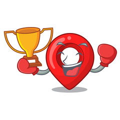 Boxing winner map marker navigation pin mascot cartoon