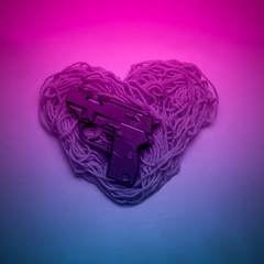 Heart And Gun Pink Gradient Colors Neon Feelings And Love Concept