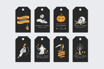 Vector illustration set of linear icons for Happy Halloween. Happy Halloween gift tags on black background.