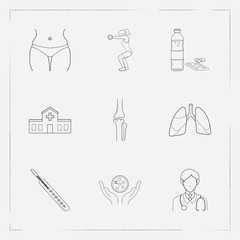 Set of anatomical icons line style symbols with oncology, water bottle, thermometer and other icons for your web mobile app logo design.