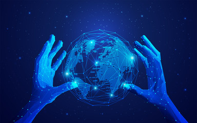 concept of global network or communication technology, futuristic hands holding wireframe globe