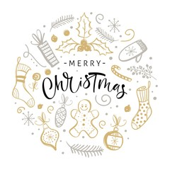 Merry Christmas greeting card with hand drawn design elements. Handwritten modern lettering.