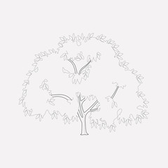 Walnut tree icon line element. Vector illustration of walnut tree icon line isolated on clean background for your web mobile app logo design.