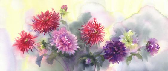 a bouquet of color dahlias watercolor background