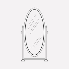 Mirror icon line element. Vector illustration of mirror icon line isolated on clean background for your web mobile app logo design.