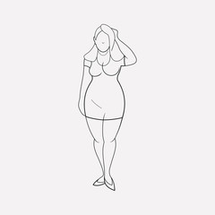 Plus size girl icon line element. Vector illustration of plus size girl icon line isolated on clean background for your web mobile app logo design.