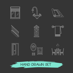 Set of design icons line style symbols with wall picture, stairs, water crane and other icons for your web mobile app logo design.