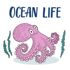 Cute octopus illustration with seaweeds around.