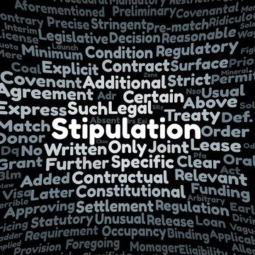 Stipulation word cloud