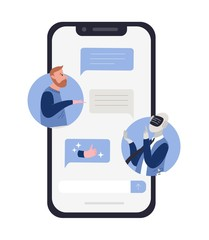 Bearded man talking to robot or android and chat messages on smartphone screen. Concept of chatbot conversation, technical support service. Colorful vector illustration in flat cartoon style.
