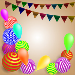 festive background. balls, flags on light brown background