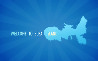 Wekcome To Elba Island. Blue - Vector Banner with Silhouette of Elba island. Style Travel illustration for Tour to Italy.