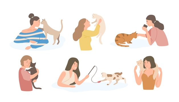 Bundle of pretty young girls and their cats isolated on white background. Set of portraits of adorable pet owners and cute domestic animals. Colorful vector illustration in flat cartoon style.