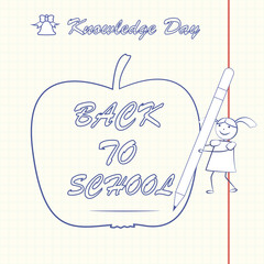back to school, apple line, day of knowledge, vector illustration,