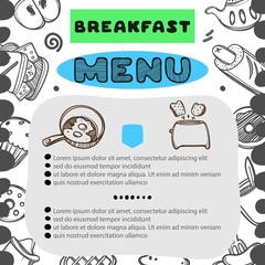 Hand drawn menu for cafe with breakfast menu. Template design. Food flyer. Linear graphic.