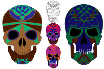 Holy death, Day of the Dead, Mexican Sugar Skull, set of skulls for the holiday