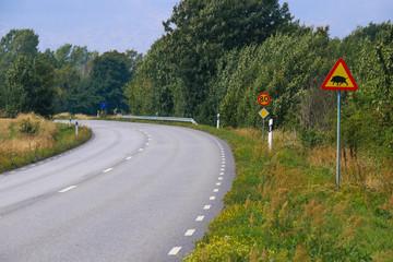 Road sign, Achtung Wildschwein, Skåne län, Skåneleden, Sweden,