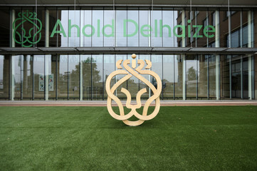 The Ahold Delhaize logo is seen at the company's headquarters in Zaandam