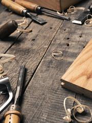 Fototapeta Old used carpenter tools obraz