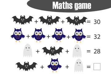 Maths game with pictures (halloween theme) for children, middle level, education game for kids, preschool worksheet activity, task for the development of logical thinking, vector illustration