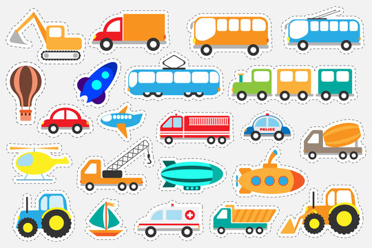 Different colorful transport for children, fun education game for kids, preschool activity, set of stickers, vector illustration