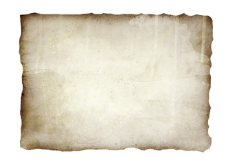 Old, burnt paper isolated on white background illustration