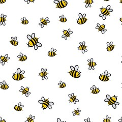 Cute seamless bee pattern vector
