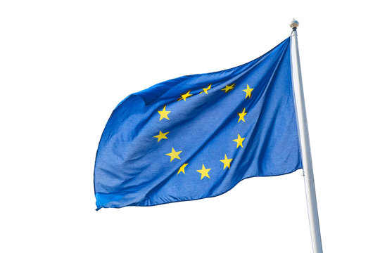Waving European Union flag isolated on white background.