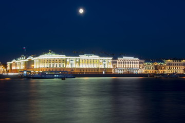 Constitutional Court of Russia and Neva river at night, Saint Petersburg, Russia