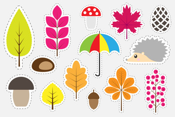Different colorful autumn pictures for children, fun education game for kids, preschool activity, set of stickers, vector illustration