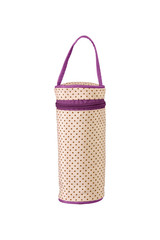 Lovely beige color soft dotted water bottle holder with purple color zip and holding option. Keep the water warm with this bag.