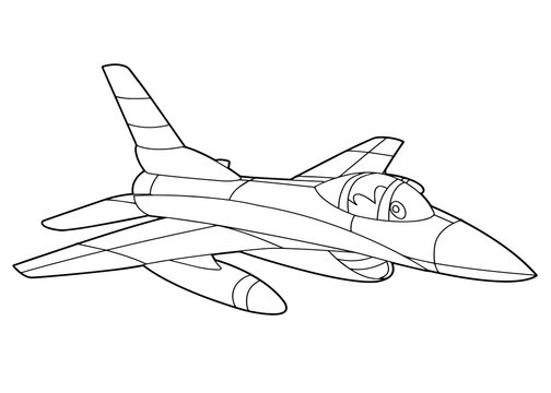 cartoon scene with vector jet plane - coloring page - illustration for the children