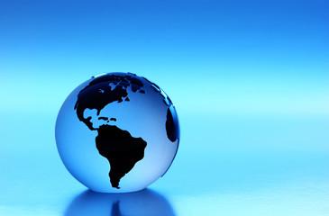 Glass Globe with blue light Studio shot