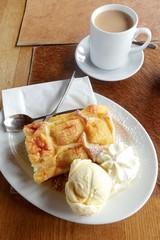 Coffee and cake Apple cake with ice cream