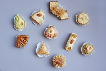 Oriental finger food and pastries