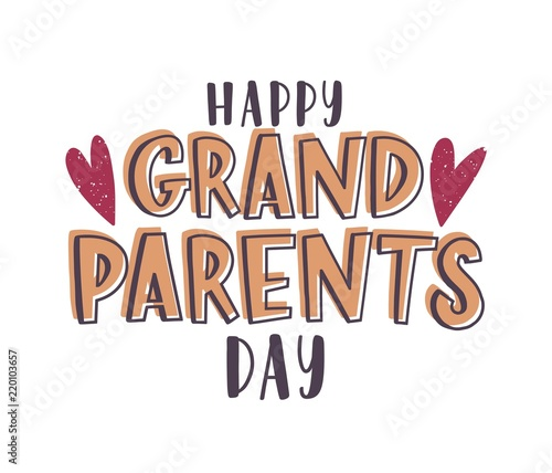 Happy Grandparents Day message handwritten with elegant font and