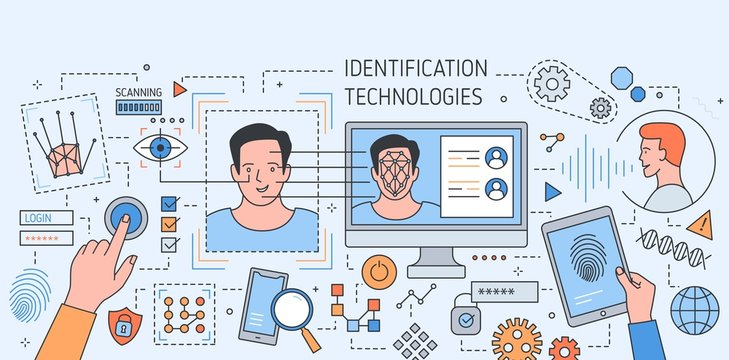 Colorful banner with face recognition technology tools, application for fingerprint and retina scanning, secure verification and identification of person. Vector illustration in modern linear style.