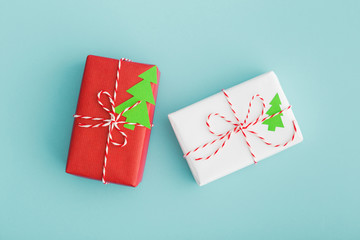 Christmas presents on blue background.