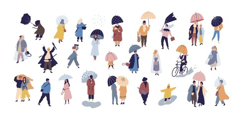 Collection of people walking under umbrella on autumn rainy day isolated on blue background. Crowd of tiny men and women under rain or rainfall. Colorful vector illustration in modern flat style.