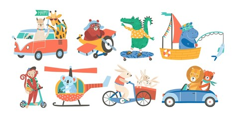 Set of funny adorable animals in various types of transport - driving car, fishing in sailboat, riding bicycle, skateboarding, flying on plane or helicopter. Colorful childish vector illustration.