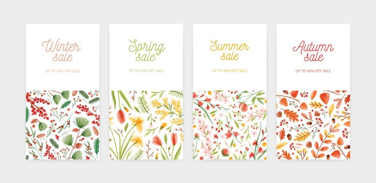 Bundle of vertical banner, promo voucher or coupon templates with seasonal flowers and plants and place for text. Spring, summer, autumn and winter sale or discount. Flat floral vector illustration.