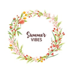 Circular frame, garland, wreath or border made of colorful blooming seasonal flowers, berries and leaves and Summer Vibes lettering inside. Botanical vector illustration in modern flat style.
