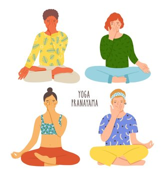 Collection of people sitting with crossed legs on floor and performing yoga breathing exercise. Girls and boys with closed eyes practicing Pranayama. Colorful vector illustration in flat cartoon style