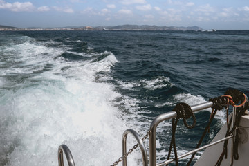 sea ​​water moving by motor boat