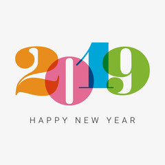 Happy new year 2019 card, numbers font. Editable vector design.