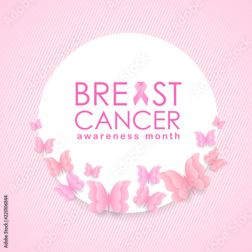 Breast Cancer Awareness Month Banner With Pink Ribbon Sign And Text